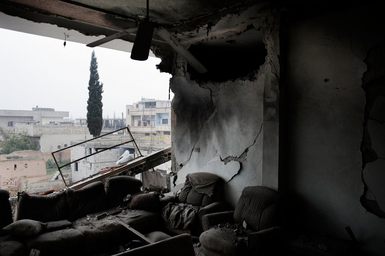 A house destroyed by a Syrian army tank shell in Al Qsair. Jan. 25, 2012