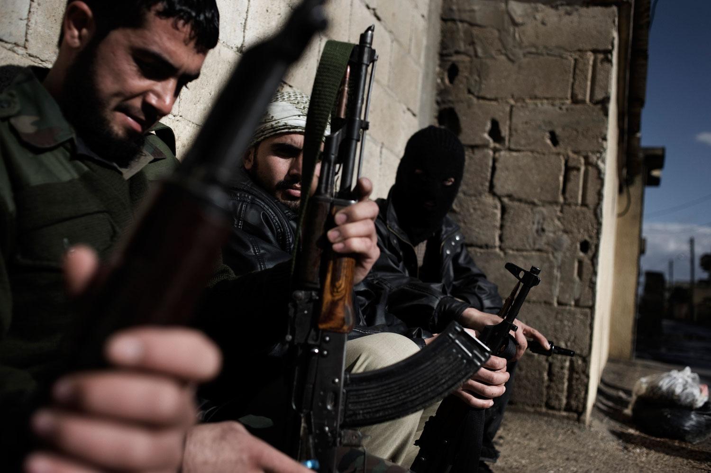 Members of the Free Syrian Army in Al Qsair. Jan. 27, 2012