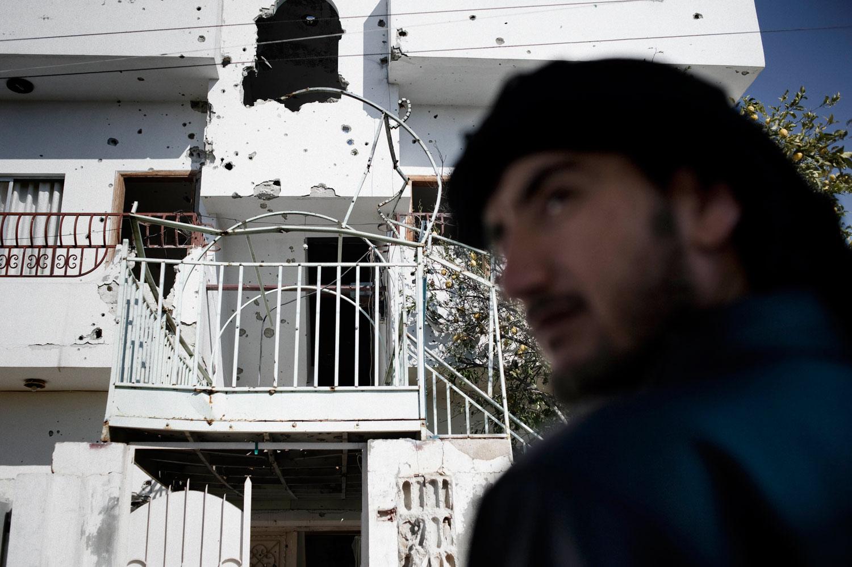 A house hit by Syrian army tank shells in Al Qsair. Jan. 25, 2012