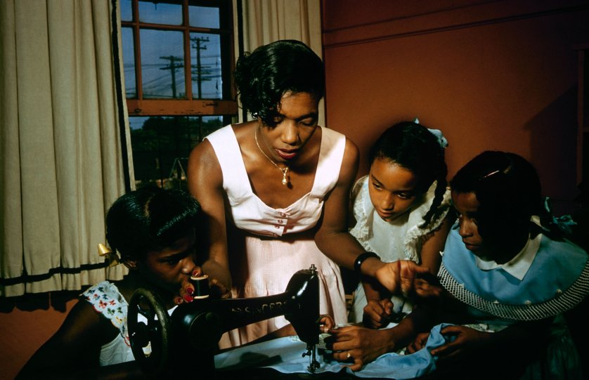 Young girls listen attentively in a sewing class, Greenville, S. Carolina, 1956.