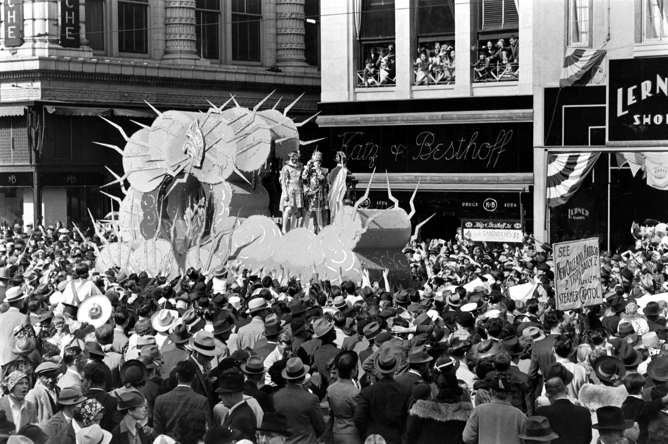 Mardi Gras float, New Orleans, 1938.