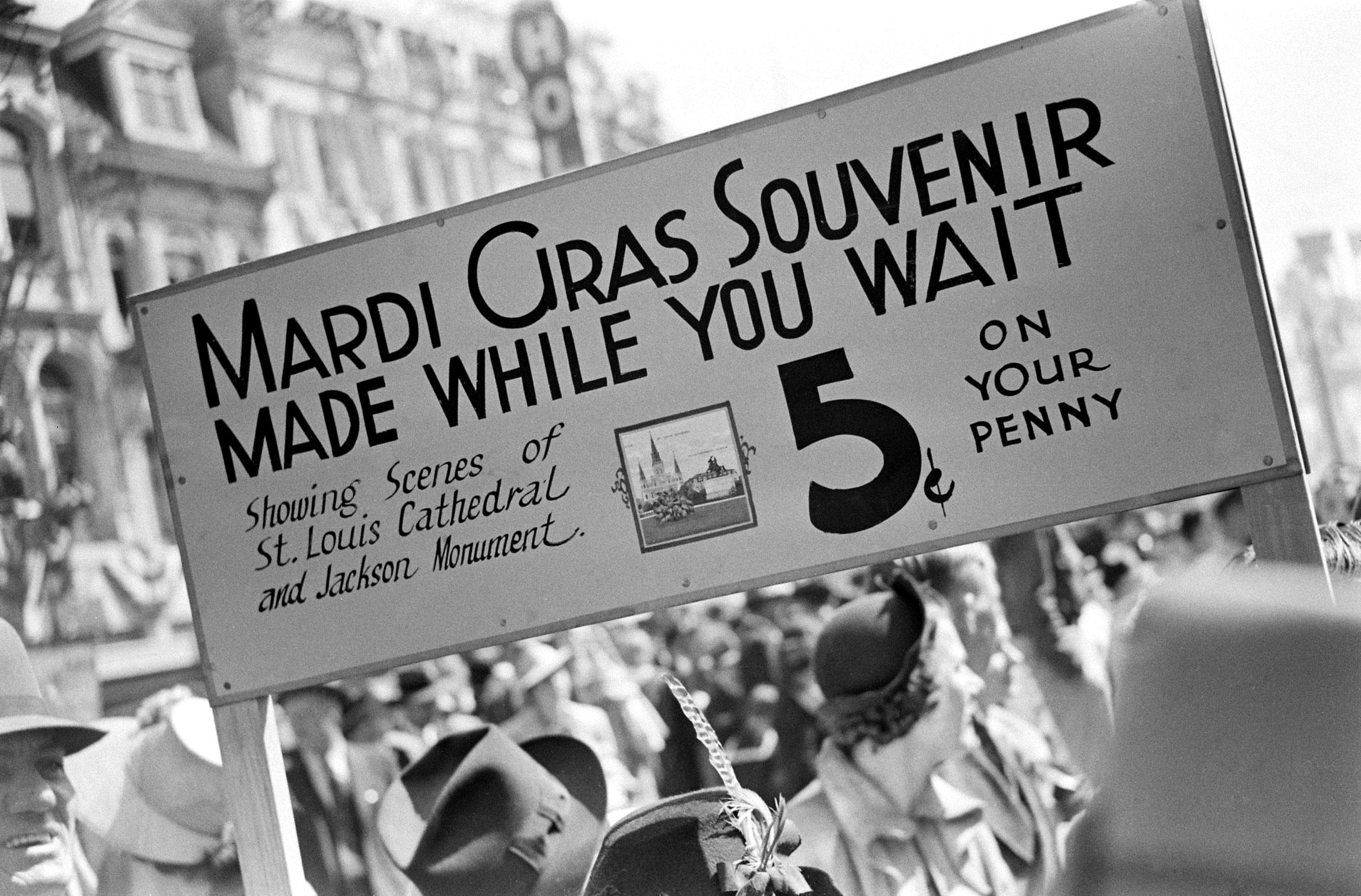 Mardi Gras souvenir sign, 1938.