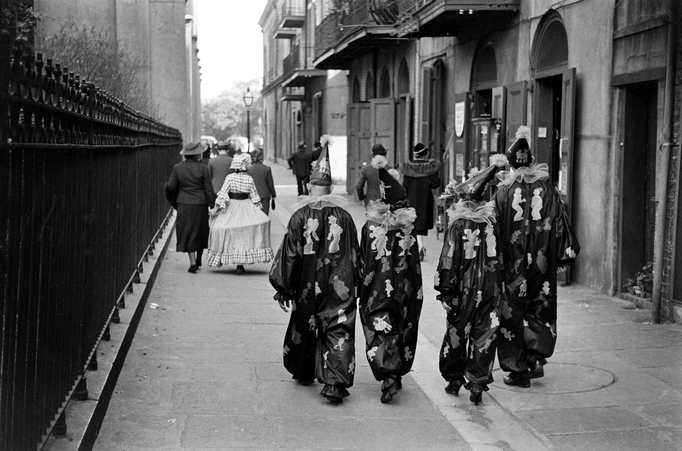 Mardi Gras revelers in costume, 1938.