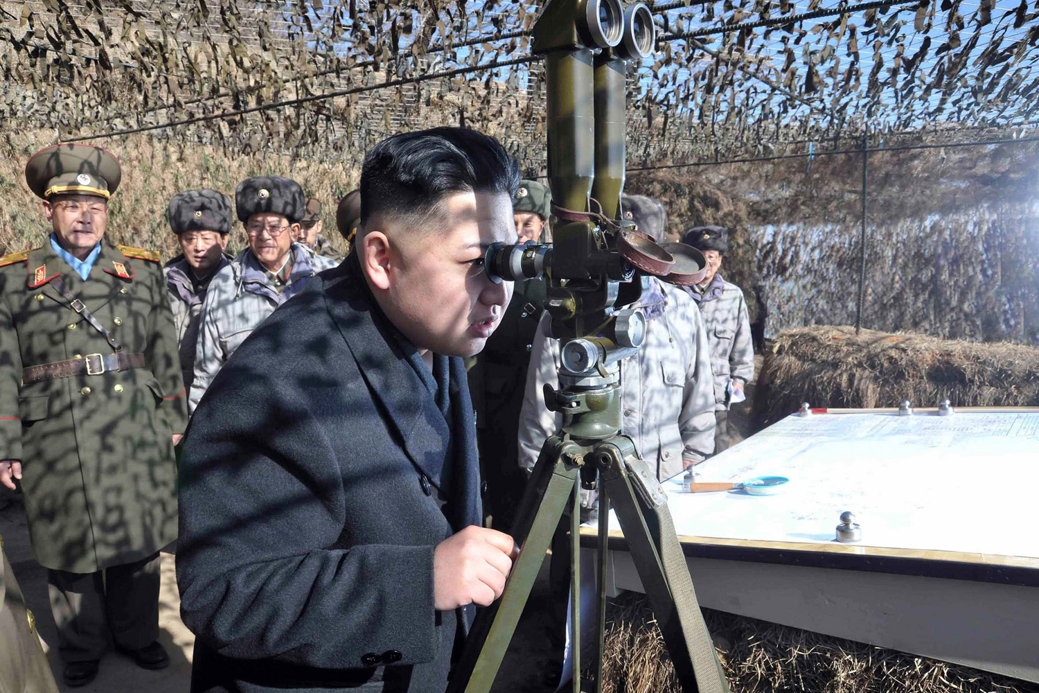 Feb. 27, 2012. North Korean leader Kim Jong-Un inspects units under the command of the Korean Peoples' Army 4th Corps, stationed in the southwestern sector of the front at an undisclosed location in North Korea.