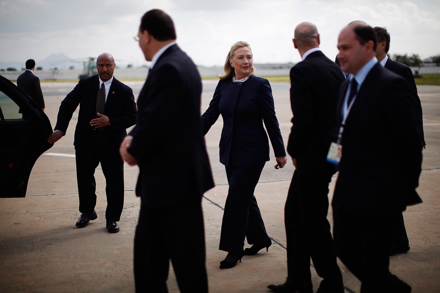 Feb. 24, 2012. U.S. Secretary of State Hillary Clinton arrives in Tunis to attend the  Friends of Syria  conference at which representatives from over 60 countries will discuss the crisis in Syria.