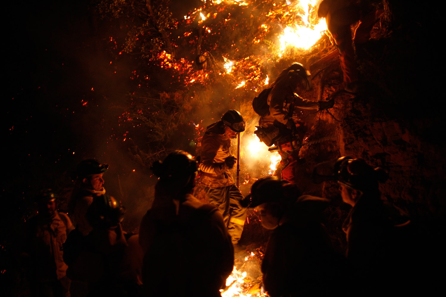 February 5, 2012. Firefighters climb a mountain to extinguish a wildfire in Jubrique, near Malaga, southern Spain.