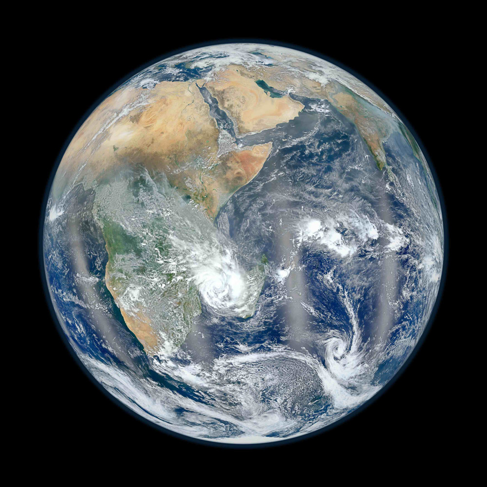 2012. A view of the eastern hemisphere of earth from space. NASA's second 'Blue Marble' image was created from data acquired by a new instrument aboard the Earth-observing satellite Suomi NPP, the Visible Infrared Imaging Radiometer Suite (VIIRS).