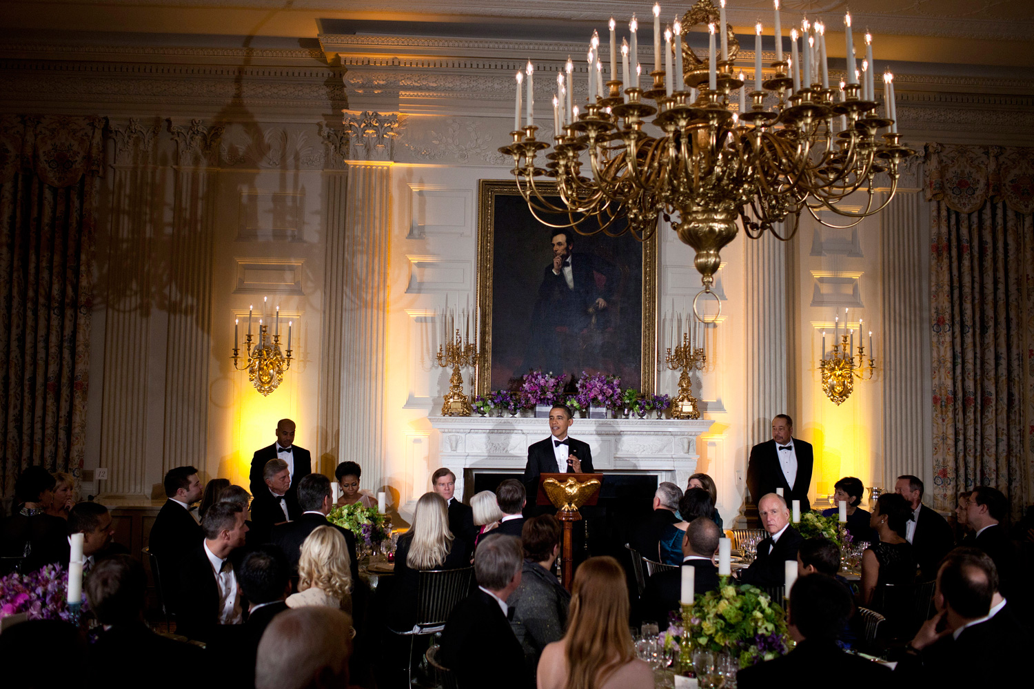 Feb. 26, 2012. U.S. President Barack Obama speaks in the State Dining Room of the White House in Washington, D.C.