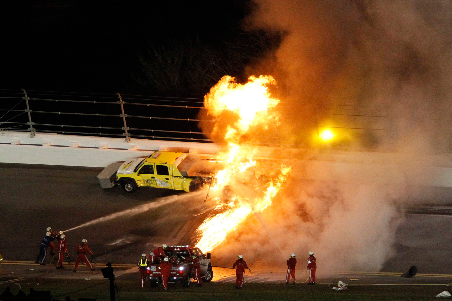 Feb. 27, 2012. A truck carrying a jet engine track dryer catches on fire in the third turn during the NASCAR Sprint Cup Series 54th Daytona 500 race at the Daytona International Speedway in Daytona Beach, Fla.