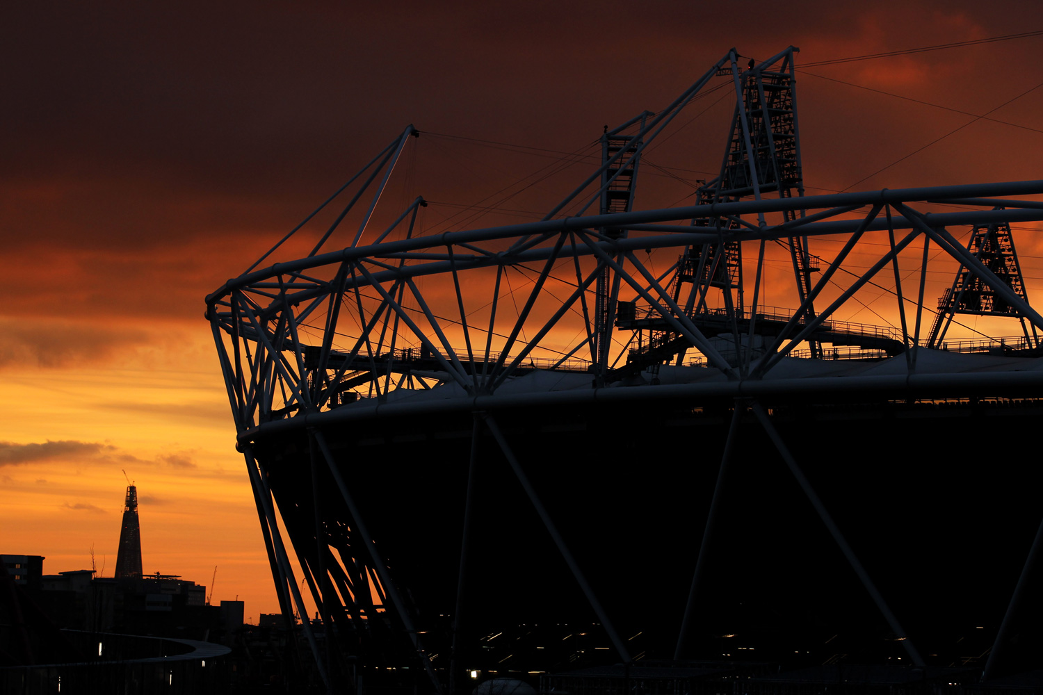 Feb. 26, 2012. The view of the Olympic Stadium at sunset during the FINA Diving World Cup and Olympic Test Event in London.