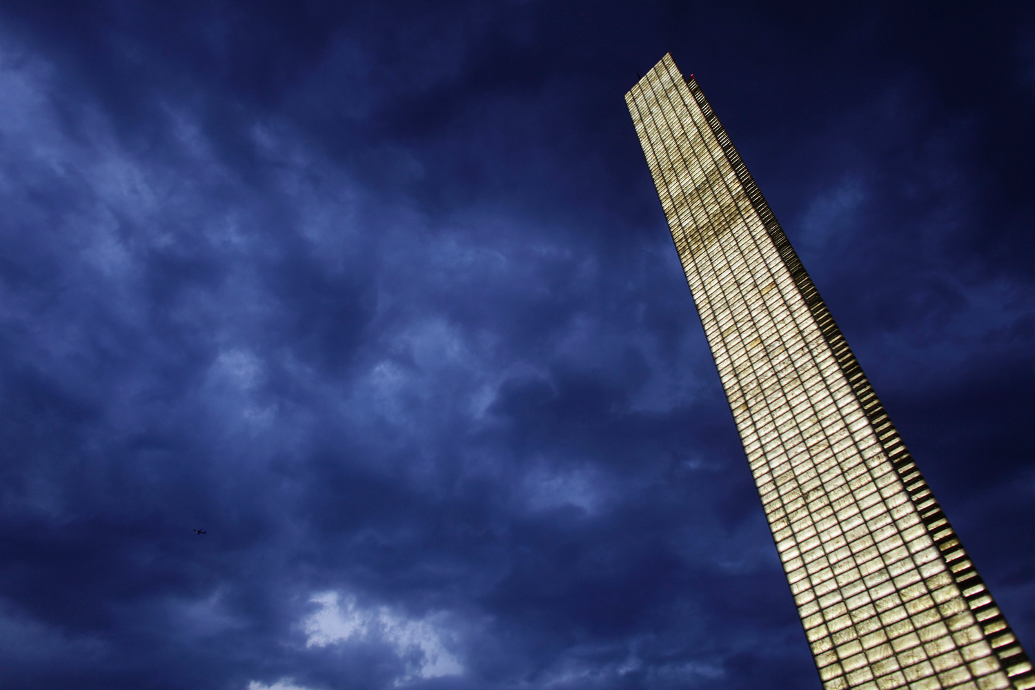 Feb. 27, 2012. The  Pillar of Light  monument lights up as the day ends in Mexico City.