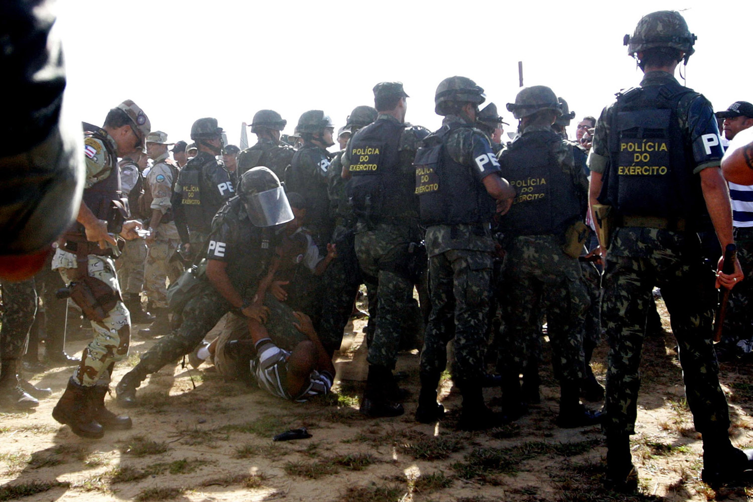 February 7, 2012. Brazilian soldiers clash with police on strike at the Legislative Assembly of Bahia in Salvador, northeastern Brazil.