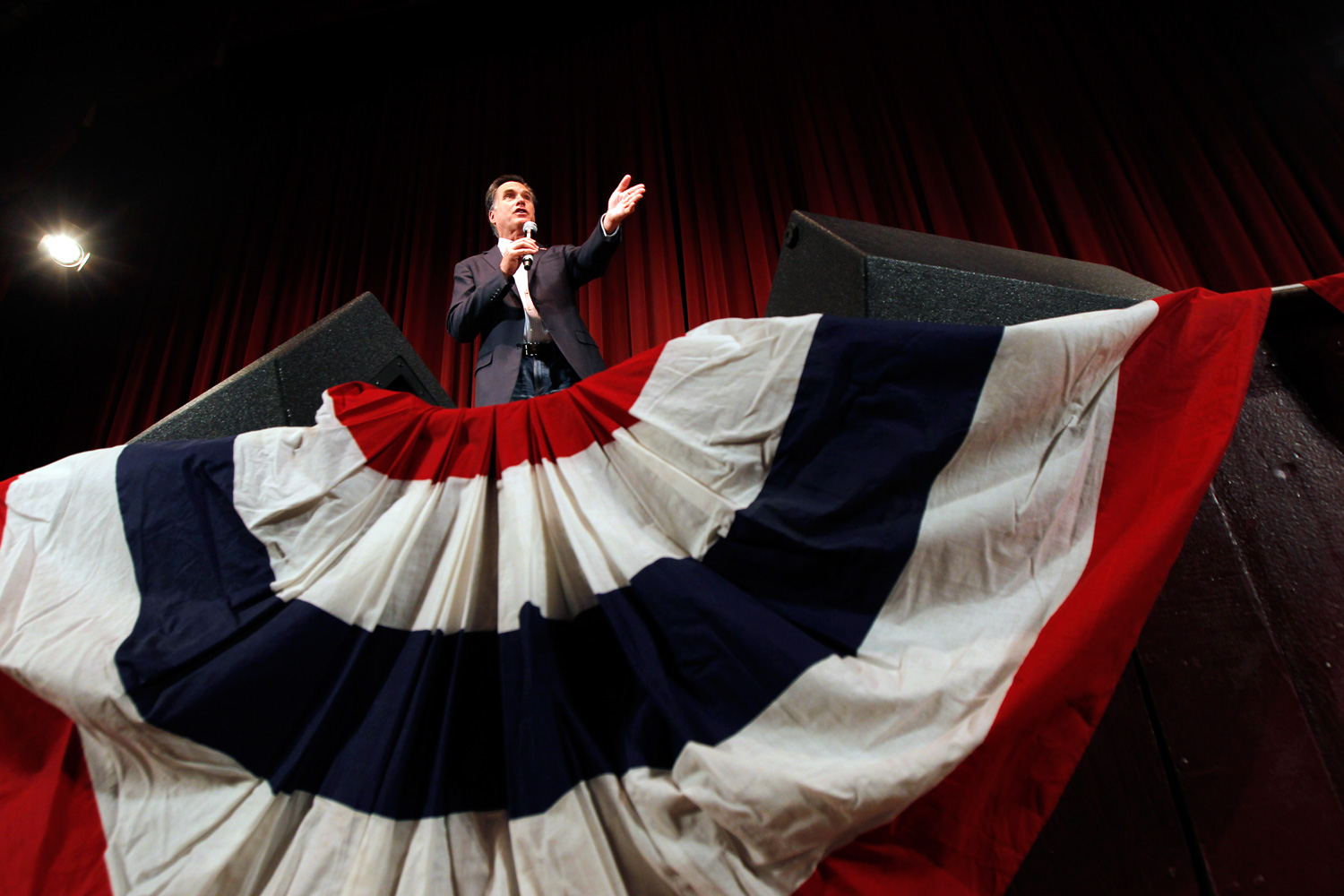 Feb. 27, 2012. Republican presidential candidate Mitt Romney speaks at a campaign rally at the Royal Oak Theater in Royal Oak, Mich.