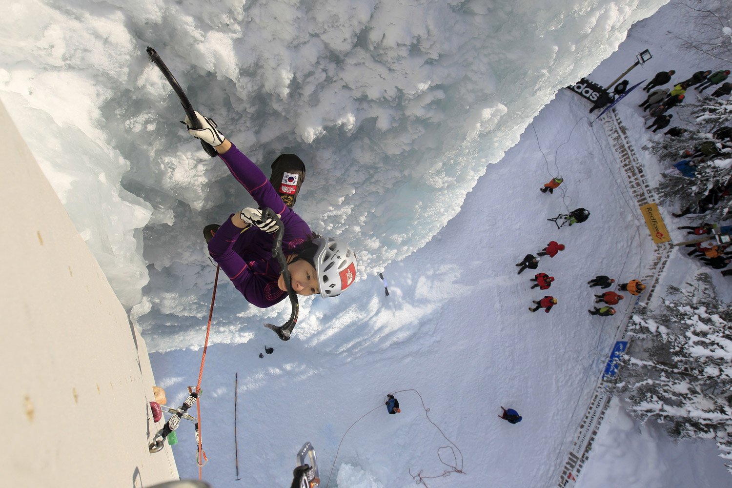 February 4, 2012. South-Korea's Seon Shin Woon performs on the ice climbing structure during the semi-final of the Ice Climbing World Cup in Champagny-en-Vanoise, France.