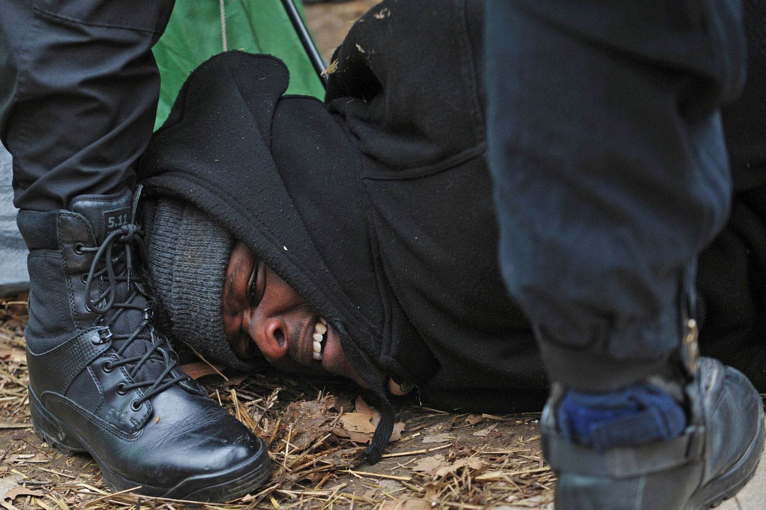February 4, 2012. US Park Police arrest an Occupy D.C. movement protester at McPherson Square in Washington, D.C.