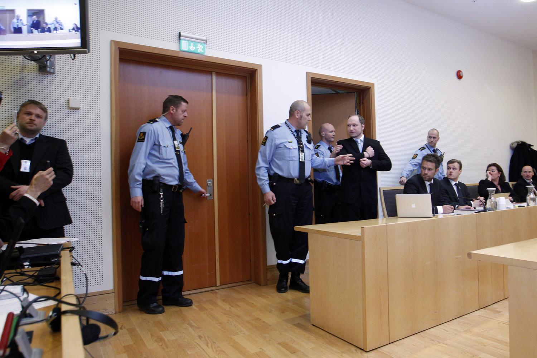February 6, 2012. Anders Behring Breivik (right door), the Norwegian gunman who killed 77 people, arrives at court in Oslo.