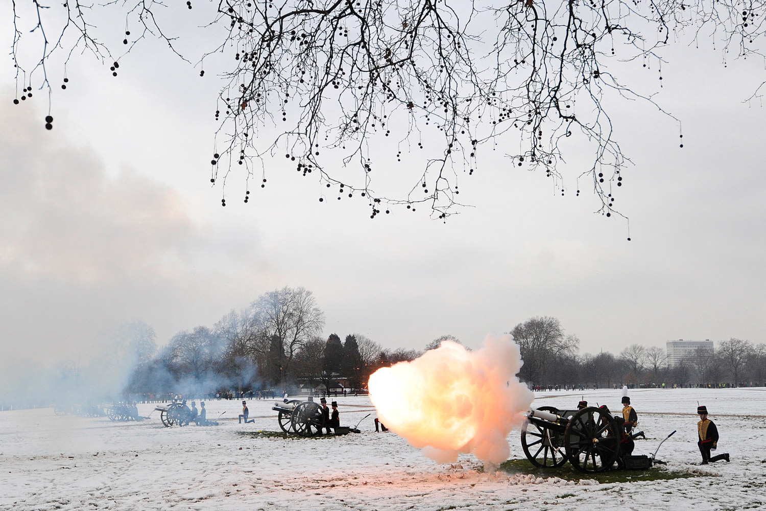 February 6, 2012. Soldiers from the King's Troop Royal Horse Artillery fire a 41 Gun Salute in Hyde Park, central London, to mark the start of Diamond Jubilee celebrations for Britain's Queen Elizabeth II.