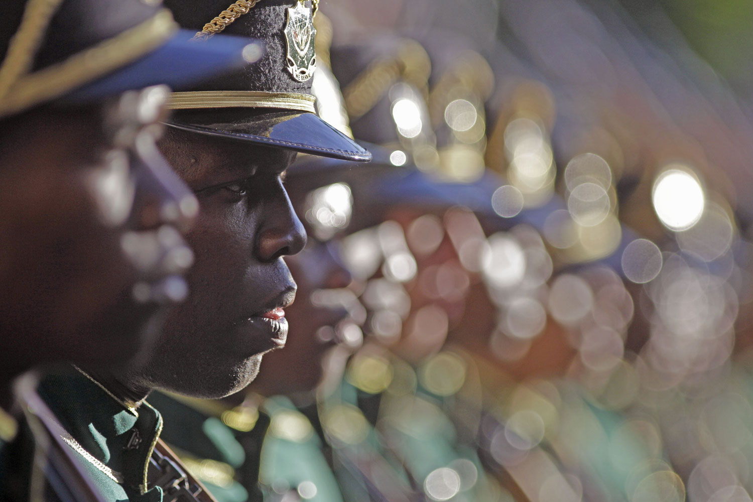 February 9, 2012. South African troops during a guard of honor at the opening of the South African Parliament in Cape Town, South Africa. South African President Jacob Zuma gave the state of the nation address during the opening of parliament in Cape Town.