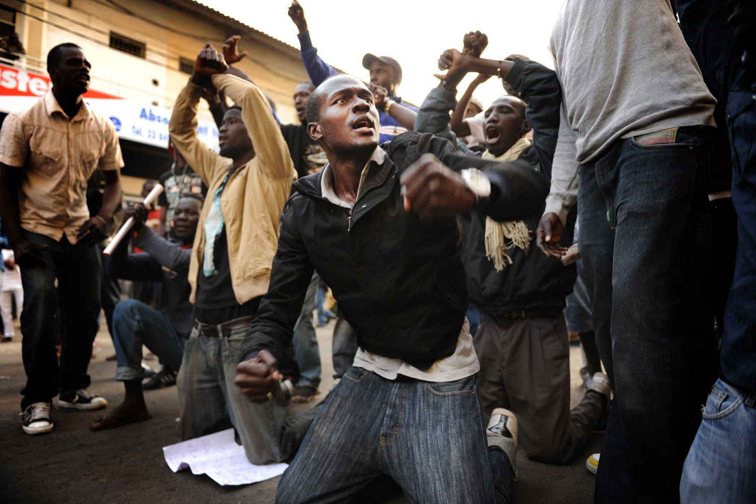Feb. 25, 2012.  Demonstrators are seen during a march protesting President Abdoulaye Wade's bid for a third term, two days before polls in the normally stable nation of Senegal.