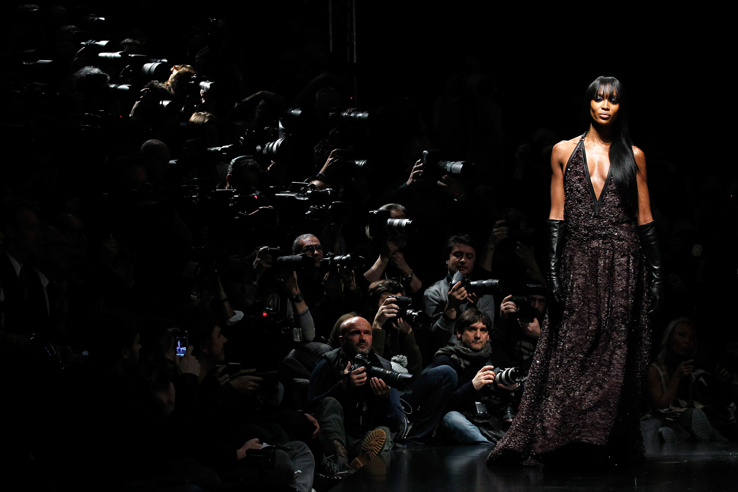 Feb. 27, 2012. Supermodel Naomi Campbell presents a creation from Roberto Cavalli 2012 Autumn/Winter collection during Milan Fashion Week in Milan.