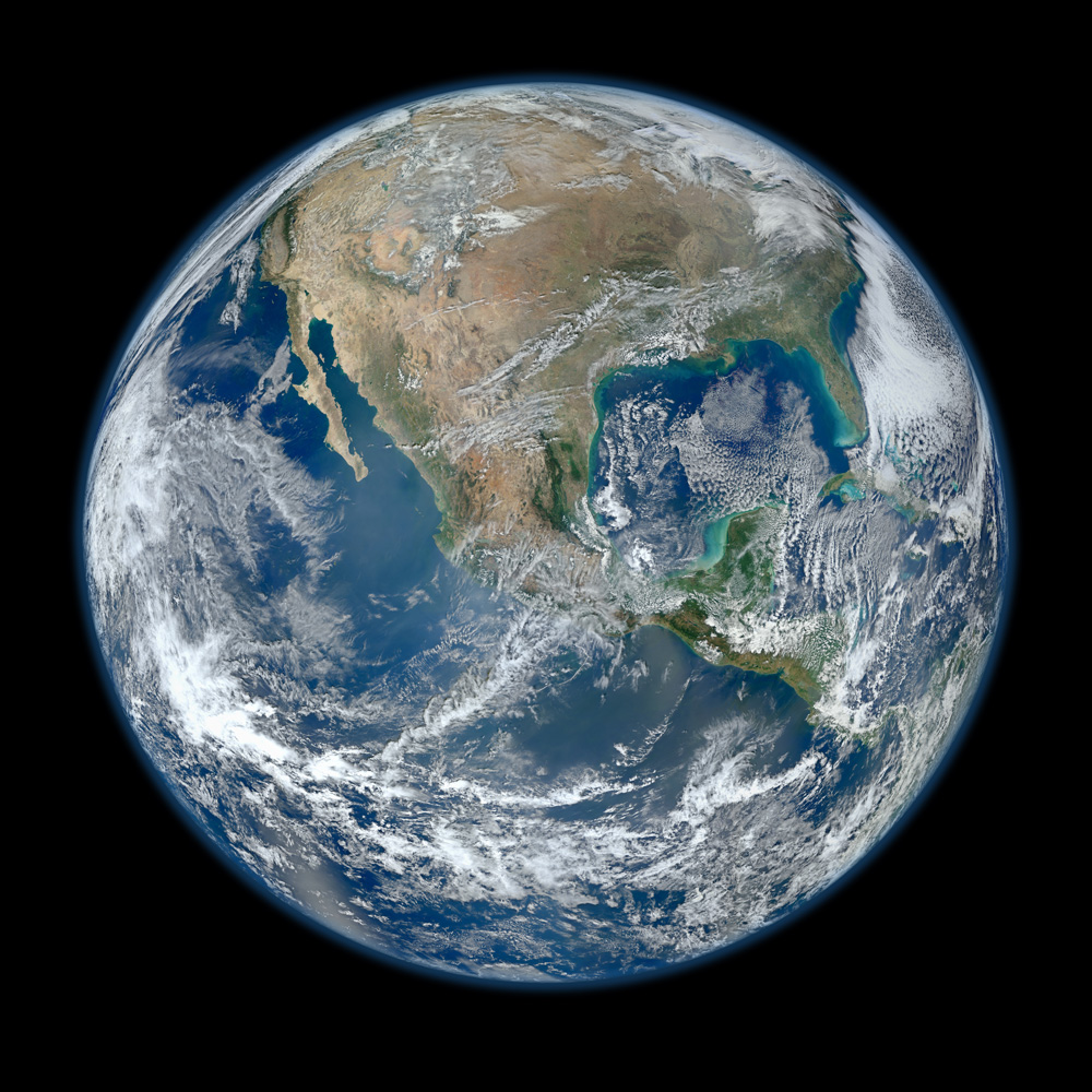 2012. A 'Blue Marble' image of the Earth taken from the VIIRS instrument aboard NASA's most recently launched Earth-observing satellite—Suomi NPP. This composite image uses a number of swaths of the Earth's surface.