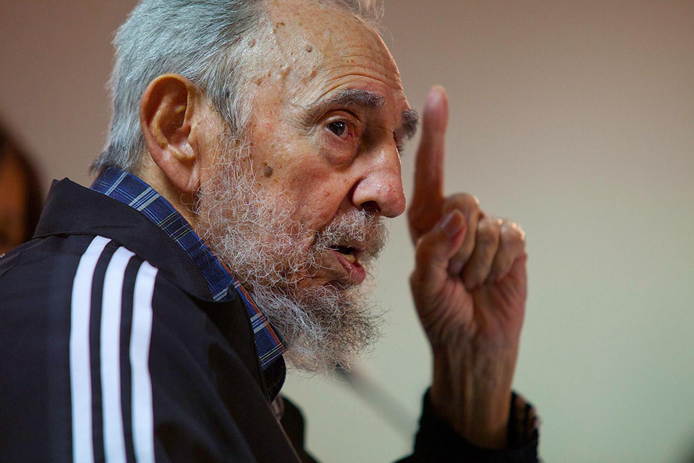 February 3, 2012. Cuba's leader Fidel Castro speaks during the presentation of his book 'Guerrillero del Tiempo,' or 'Time Warrior,' in Havana.