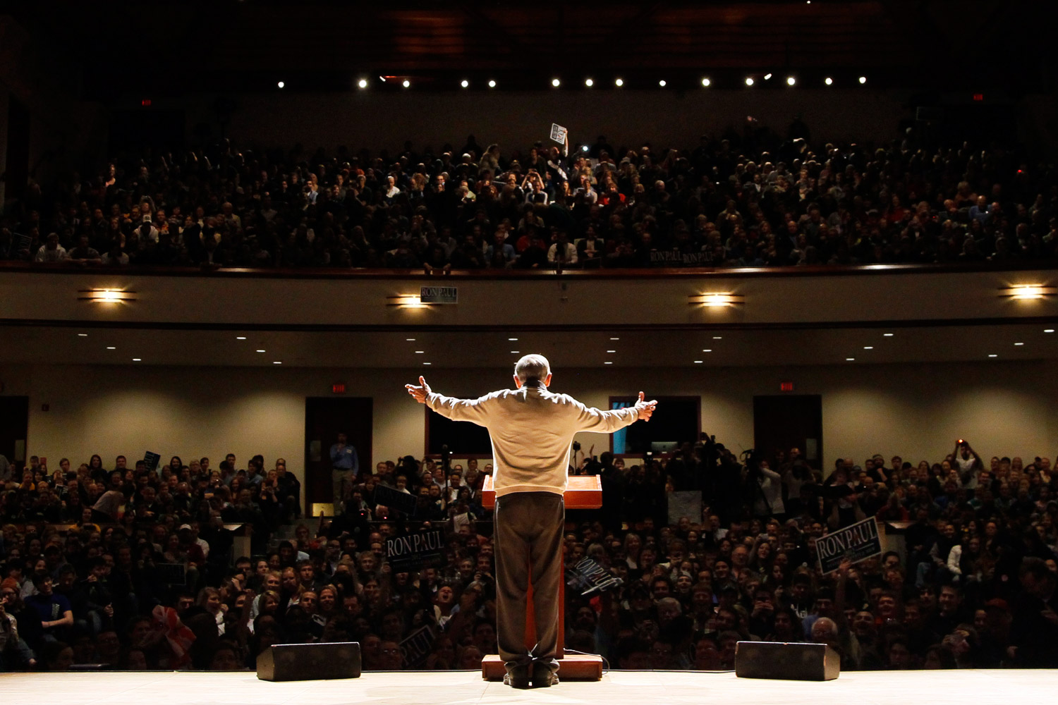 February 4, 2012. Republican presidential candidate Rep. Ron Paul, R-Texas, speaks during a campaign stop at Bethel University, in Arden Hills, Minn.