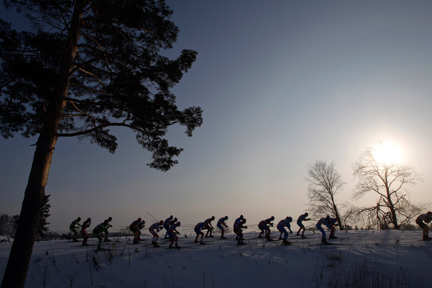 February 4, 2012. Skiers make their way during the men's cross-country skiing World Cup 15-km Free Mass Start in Rybinsk, Russia.