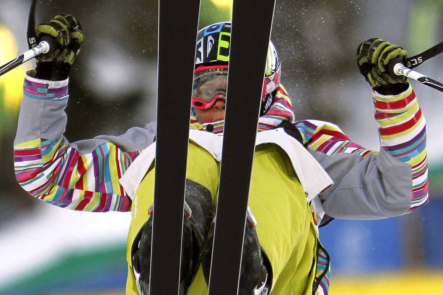 February 4, 2012. Yulia Galysheva, of Kazakhstan, flips during the women's duel moguls qualifications at the World Cup freestyle skiing competition at Deer Valley Resort in Park City, Utah.