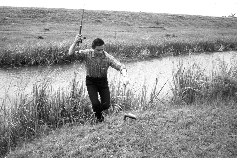 Fishing on his farm in San Antonio, May 1959.