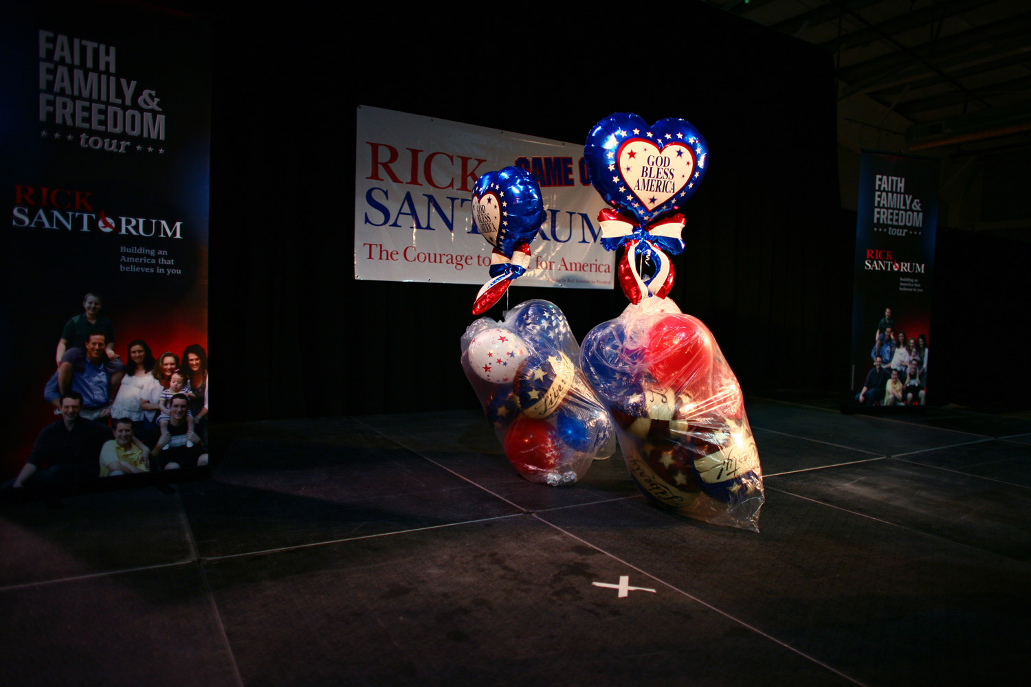 February 4, 2012. Balloons and signage are packed up for the next event for former Pennsylvania Sen. Rick Santorum, a candidate for the Republican presidential nomination, in Loveland, Colo.