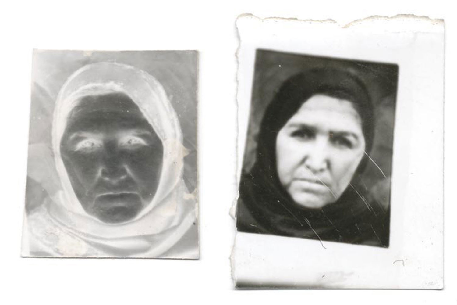 A paper negative and finished portrait by Qalam Nabi.