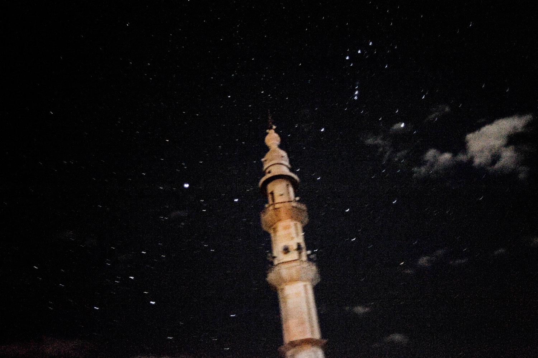 A night view of a minaret in Al Qsair. Jan. 31, 2012