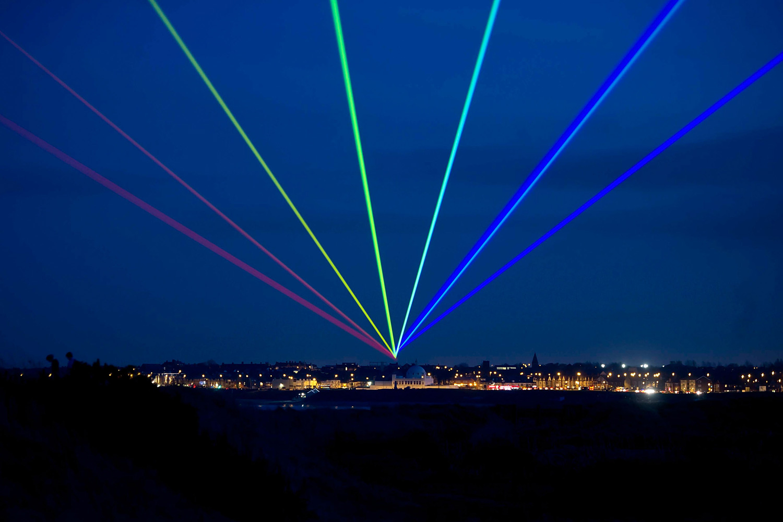 March 1, 2012. International artist Yvette Mattern shows his stunning laser rainbow projection, Global Rainbow, Whitley Bay, England.