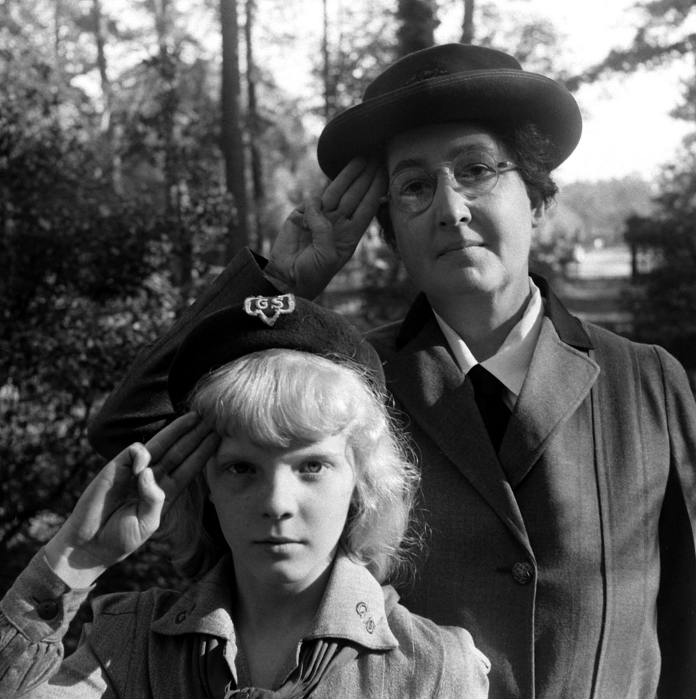 """The first Girl Scout,"" Daisy Gordon Lawrence (rear), with a young Scout  in 1948."