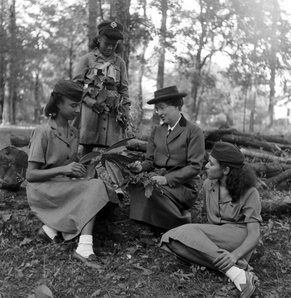 """The first Girl Scout,"" Daisy Gordon Lawrence, with young Scouts in 1948."