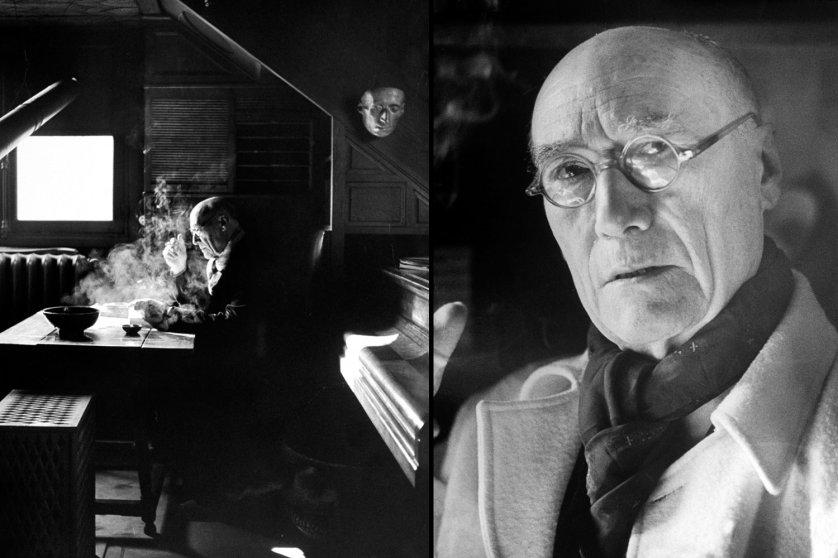 1947 Nobel laureate Andre Gide, at work (left) and in a portrait by LIFE's Yale Joel.