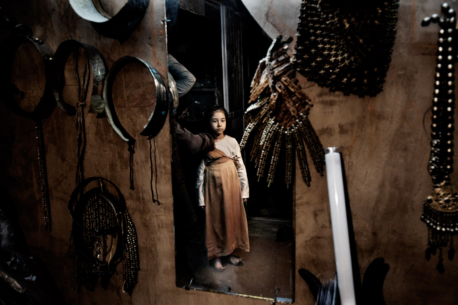 A young actress is seen on set during the filming of the religious colossal Joseph in Tehran.