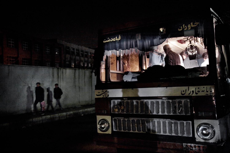 Production technicians prepare for a scene on the set of Corn's Scent in Tehran.