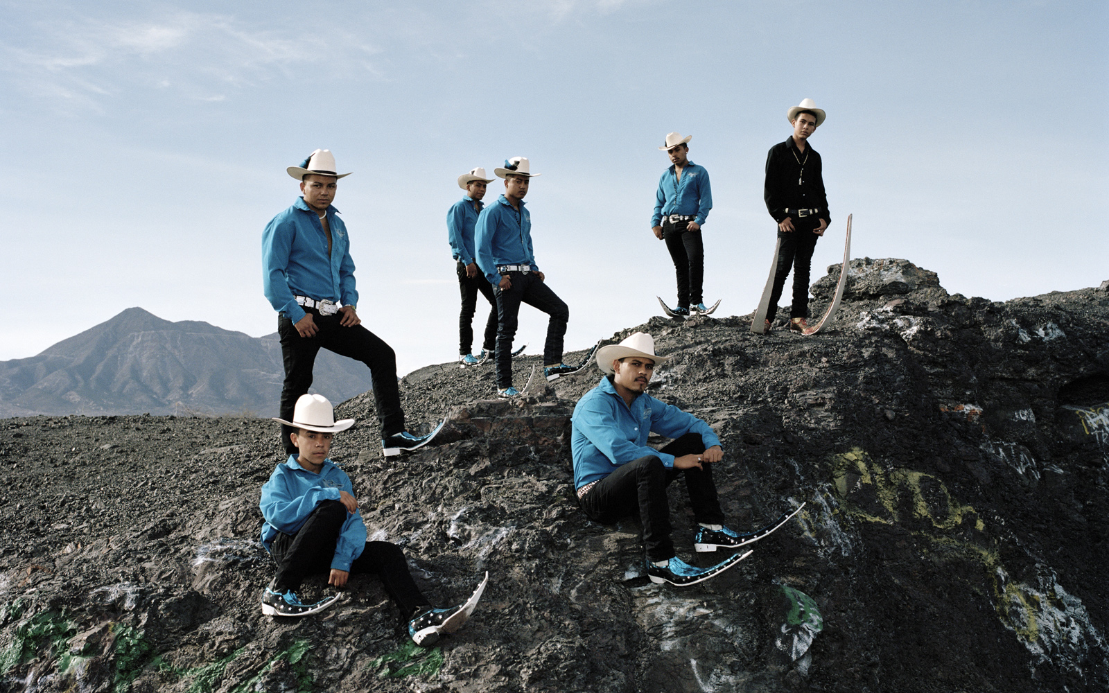 Members of  Los Socios  pointy boots crew, posing on the rest of an old mining field of Matehuala.