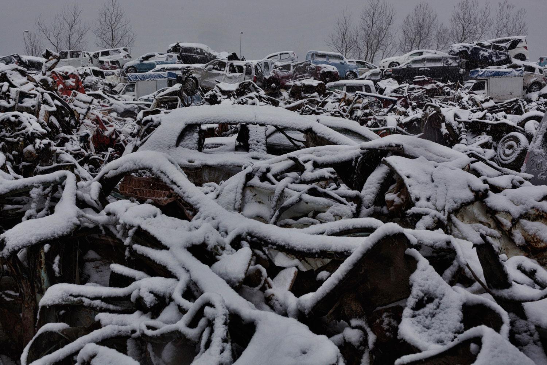 Feb. 25, 2012. Ishinomaki, Japan. Cars destroyed by tsunami.