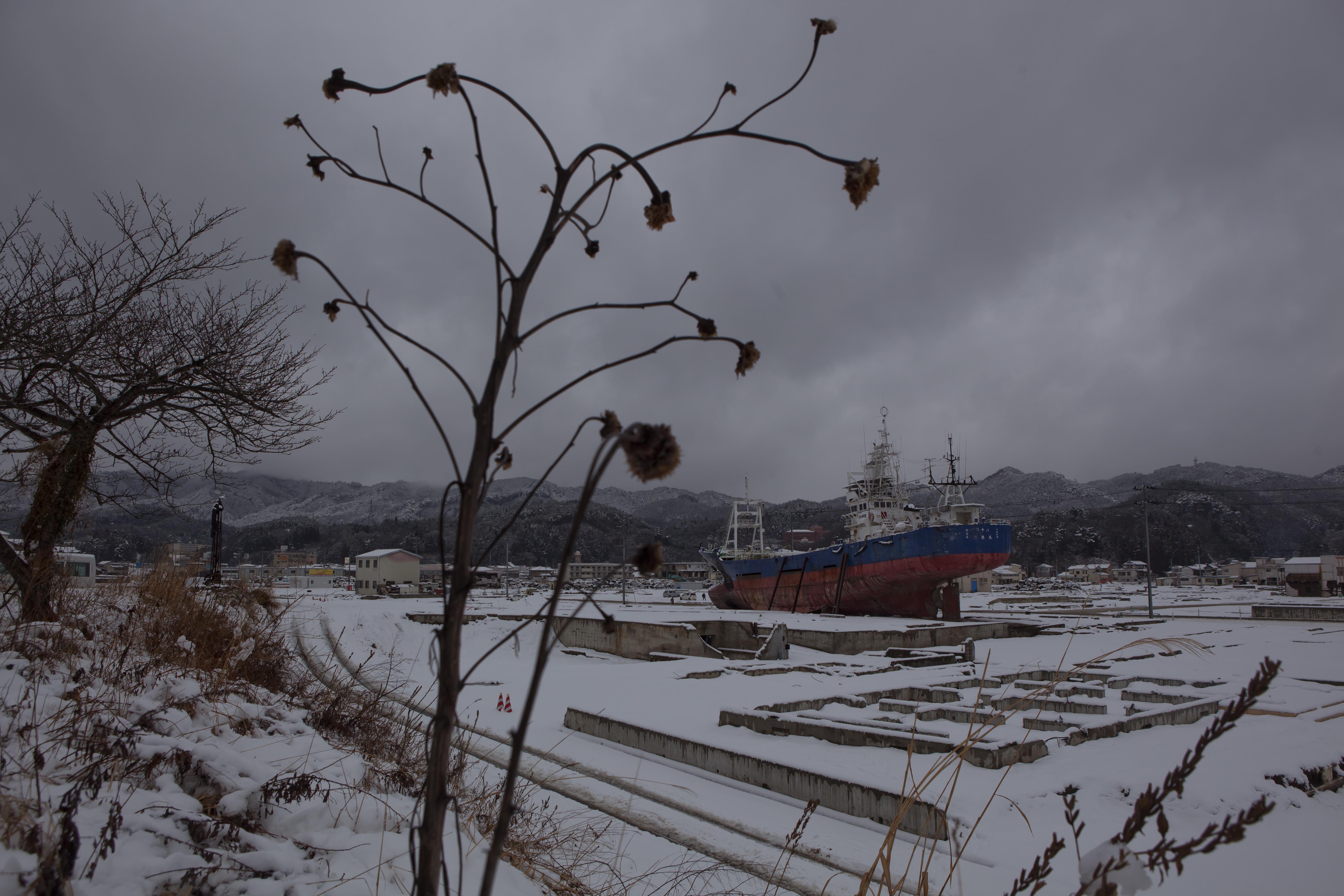 Feb. 25, 2012. Kesennuma, Japan. A ship deposited inland by the tsunami.