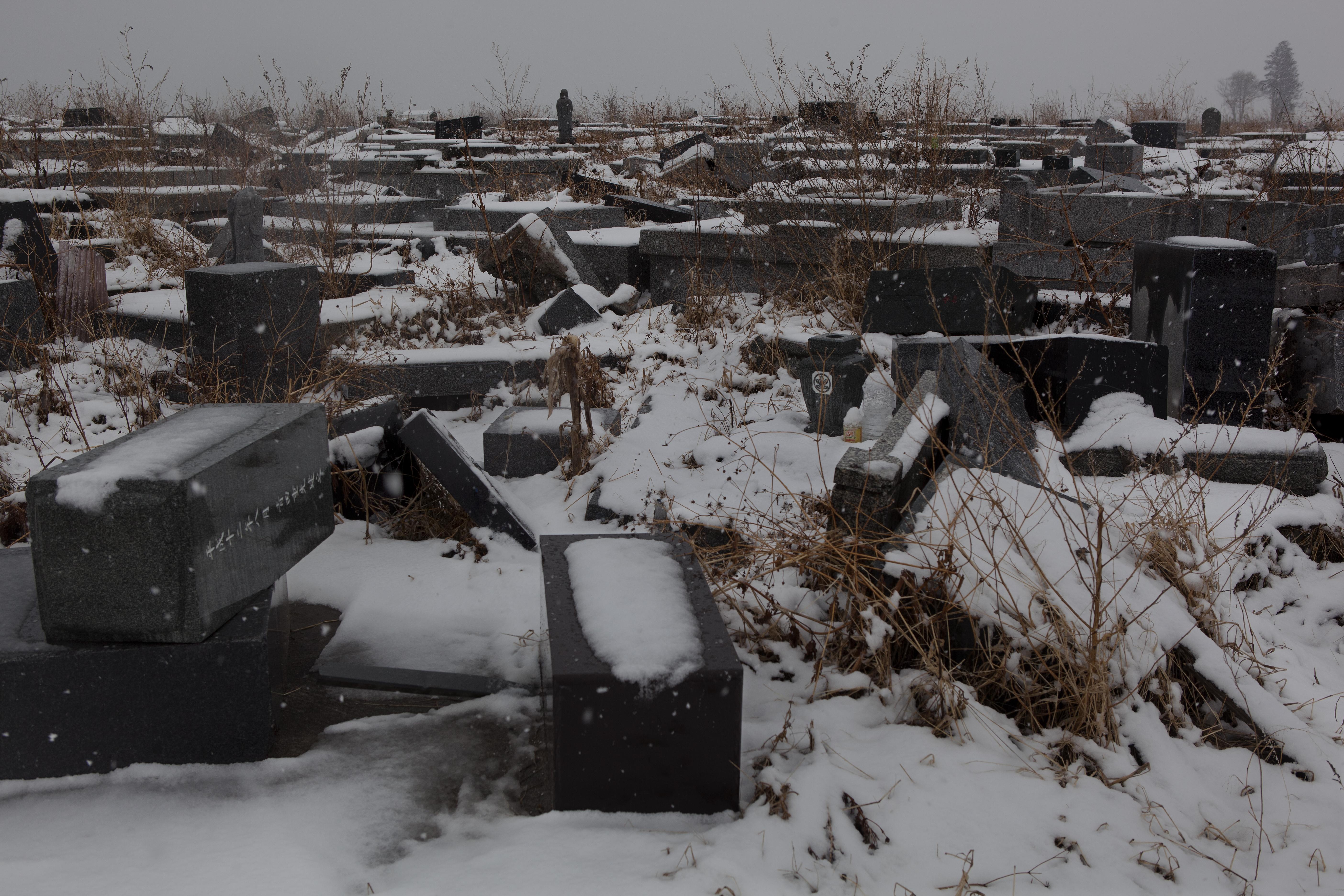 Feb. 29, 2012. Namie, Japan. Cemetery near the shore.