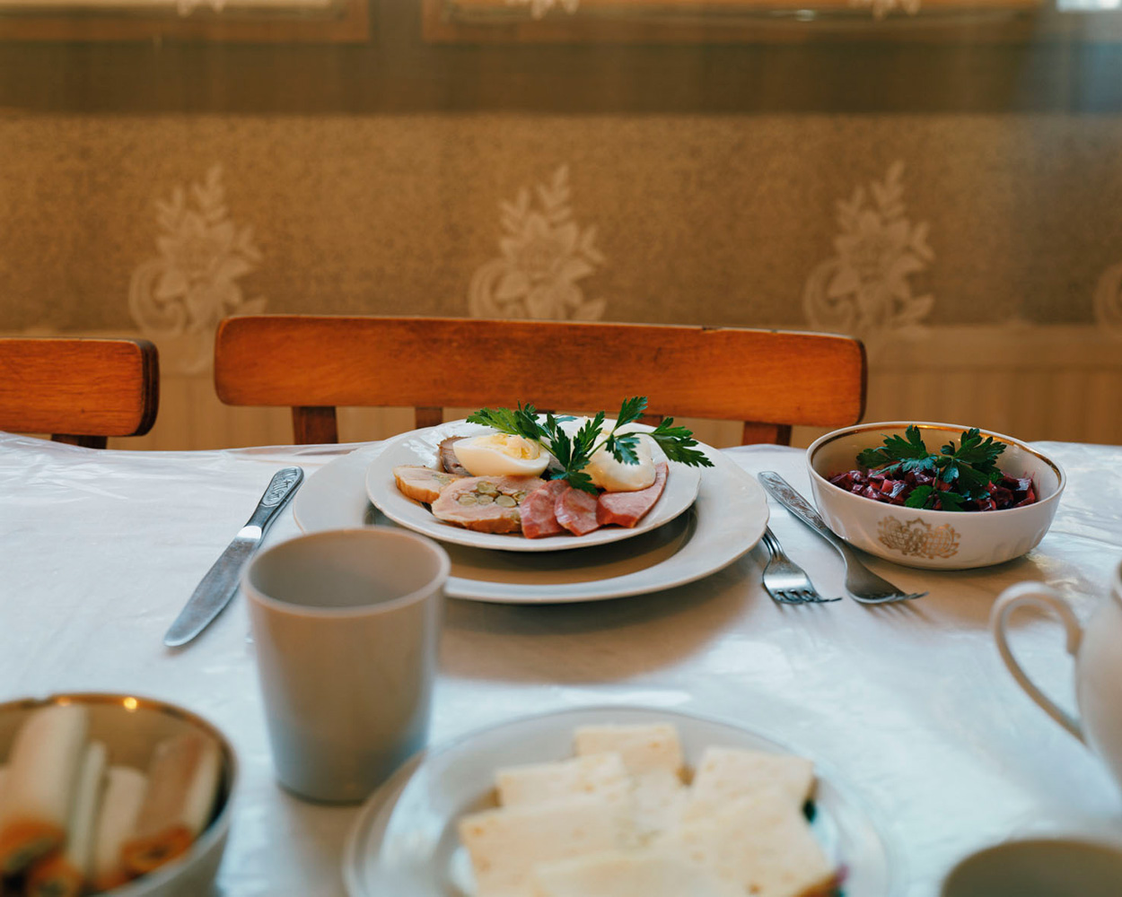 """Trip to Chernobyl – Ukraine. 2008.Breakfast in the exclusion zone: """"the quality of food is guaranteed"""" says the tourist brochure. Entrance to the Chernobyl exclusion zone is possible only with the help of permits, which can be organized by tour groups."""