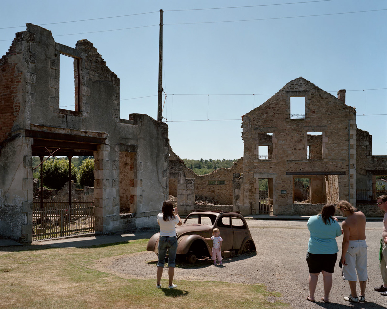 Oradour-sur-Glane WWII martyr village — France. 2009.On the afternoon of June 10, 1944, a detachment of SS troops arrived in Oradour-sur-Glane and rounded up the inhabitants, including those they had collected from nearby farms on their way in. At the end of the day, the SS had murdered a total of 642 men, women and children. Following the war the French government decided to preserve the town in its ruined state as a memorial to the murdered inhabitants.