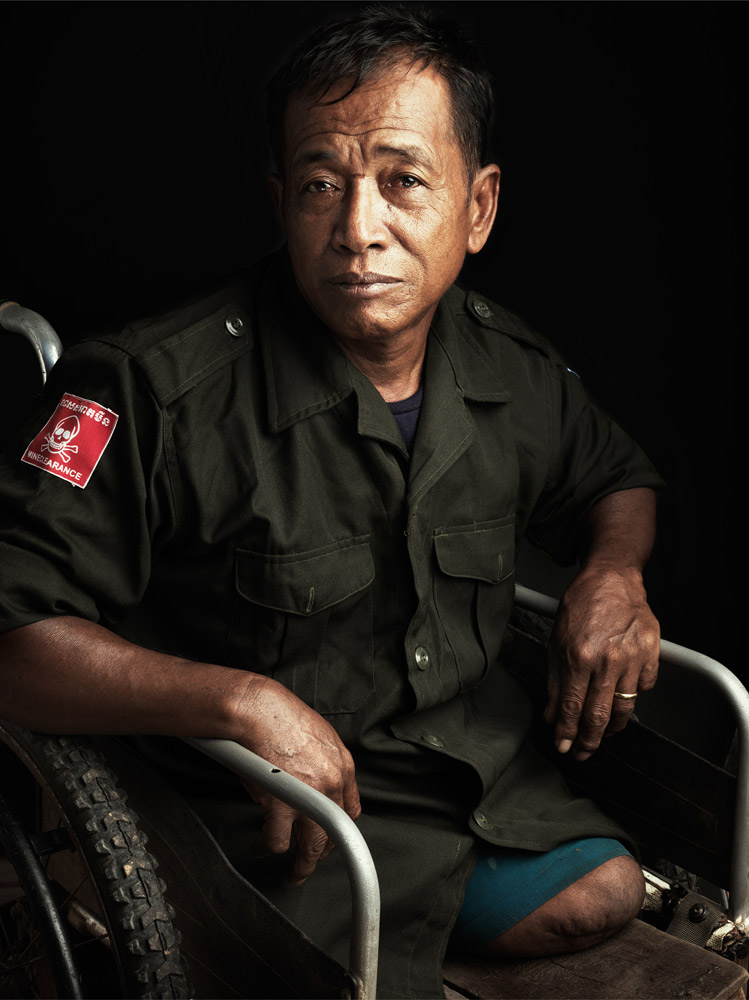 Pen Narin lost his leg in a land mine accident when he was in the army. HALO trust has employed him as a mine detector technician since then.