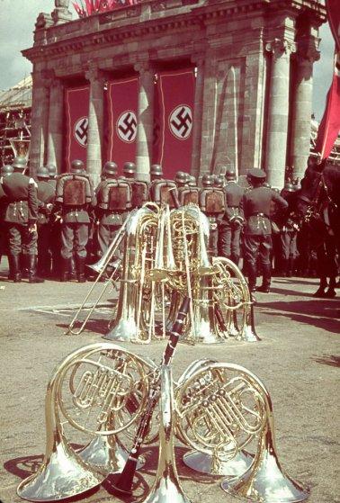 A rally in celebration of Adolf Hitler's 50th birthday, Berlin, April 20, 1939.