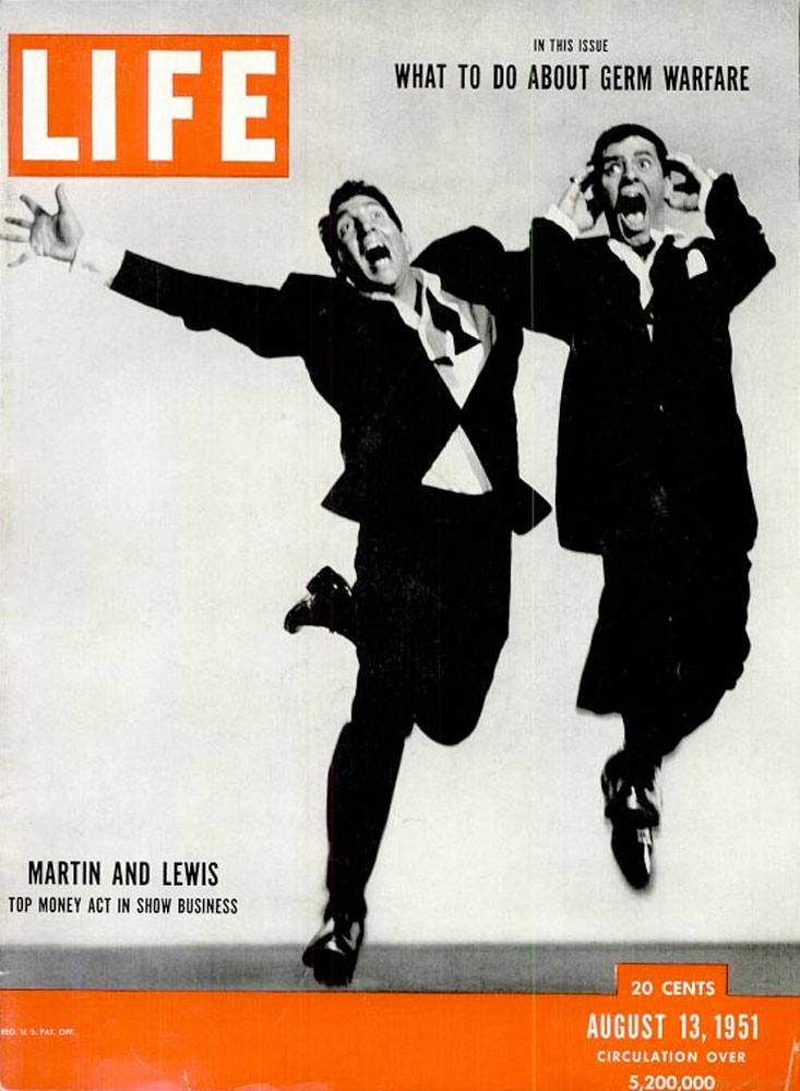 August 13, 1951, cover of LIFE magazine featuring Dean Martin and Jerry Lewis.