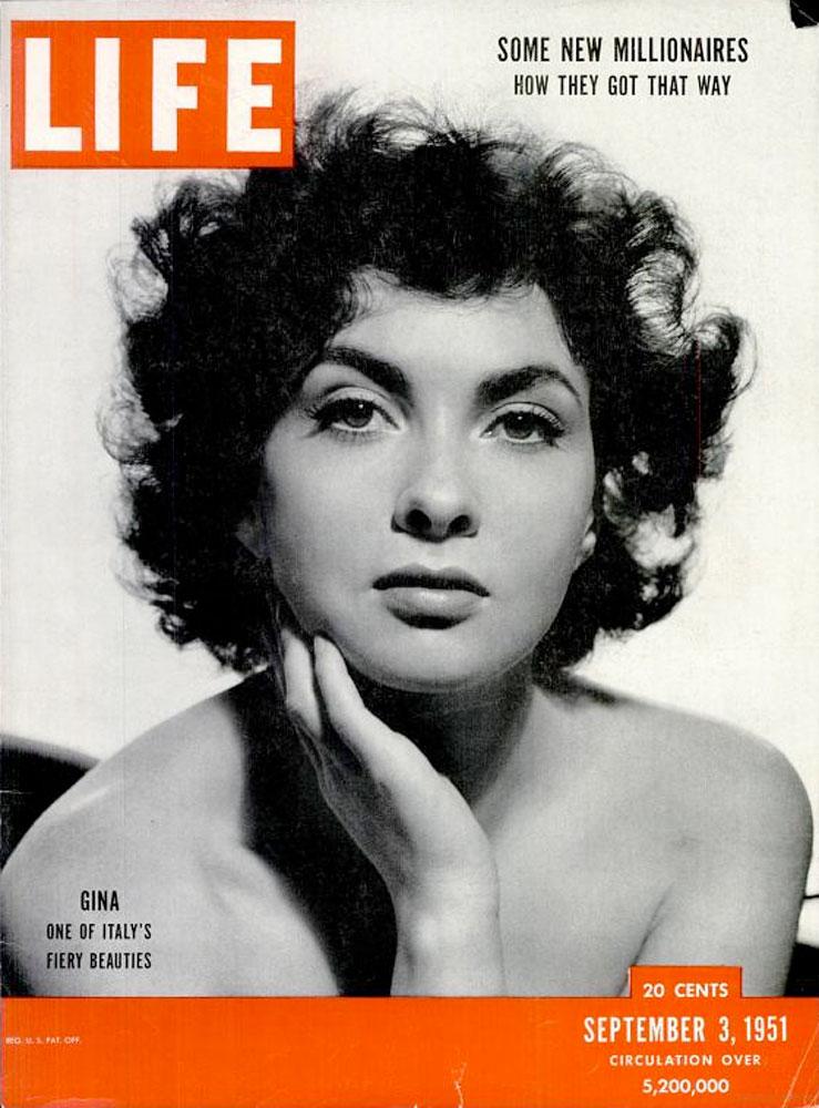 September 3, 1951, cover of LIFE magazine featuring Gina Lollobrigida.