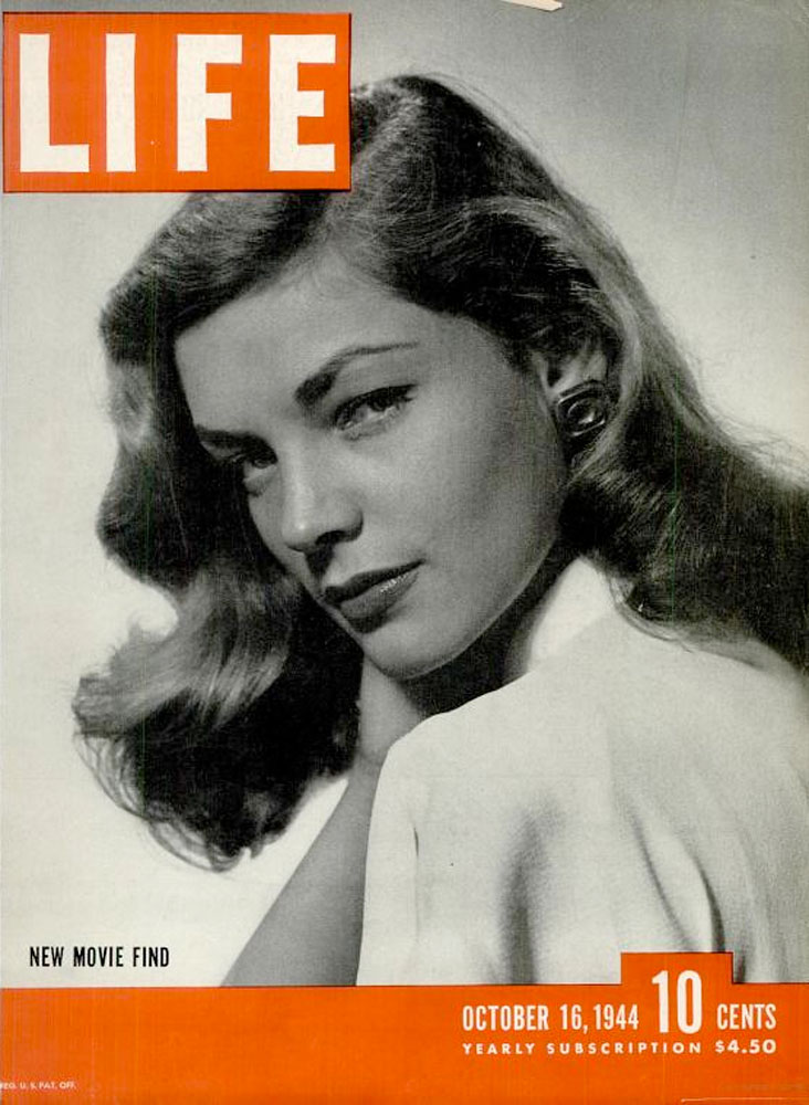 October 16, 1944, cover of LIFE magazine featuring Lauren Bacall.